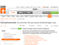 Screenshot der Homepage der Stiftung Warentest